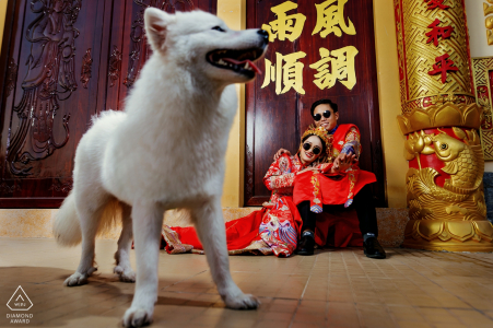 Tra Vinh - Viet Nam engagement photographer says: The dog is so cute because it appears at the right time
