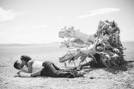 Salt Lake City pre-wedding portraits   Couple kissing on sand at the beach with old tree stump in background