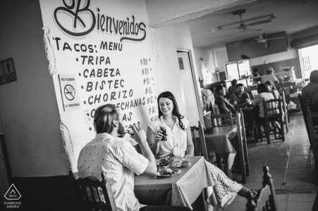 Playa del Carmen restaurant engagement photos - Best tacos in town, Best couple in town