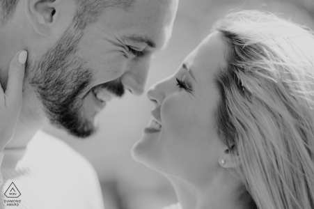 London intimate engagement portrait in black and white and close up
