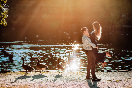 """Avalon Park and Preserve Engagement Portrait Photographer: """"There were ducks and a swan in the pond which made this picture more interesting."""" Serving RI, NY, VT, MA and CT for wedding photography"""