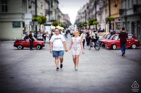 Piotrkowska street in Lodz engagement photography - A walk around the city