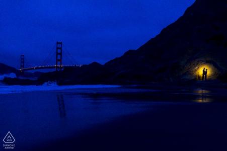 Baker Beach San Francisco Compromiso de rodaje por la noche con una luz