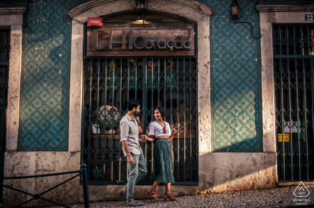 Lisbon engagement session on the streets in afternoon sunlight