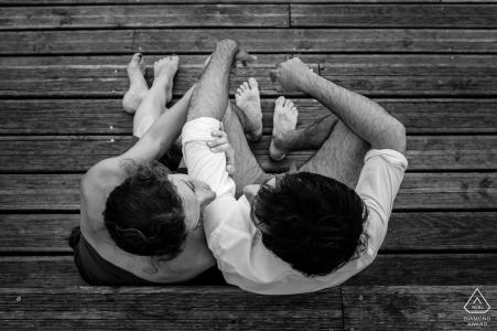 Fiançailles pré mariage d'Hossegor en noir et blanc