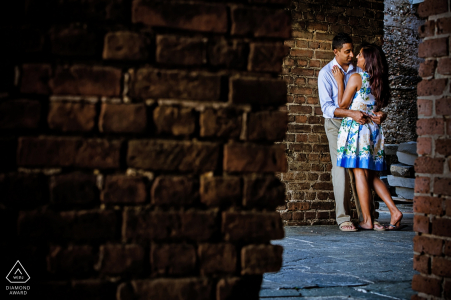 Key West Engagement Photography Session with Brick Walls