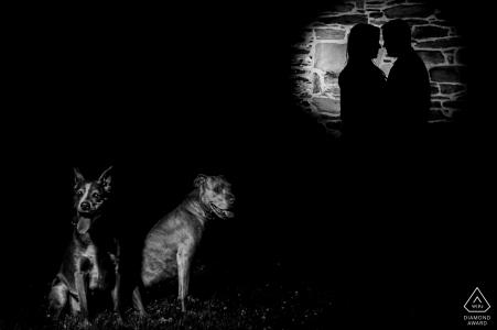 Retratos de compromiso de Virginia en Monocacy Battlefield   Pareja y sus perros en blanco y negro