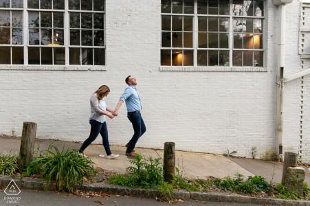 Inman Park, Atlanta, GA - Portrait of Engaged Couple walking