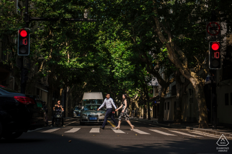 Shanghai Pre-Wedding Portrait Session with Engaged Couple Walking in the Streets.