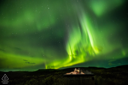Vik, Iceland Engagement Portraits | Nothing better than a hot tub under the northern lights!
