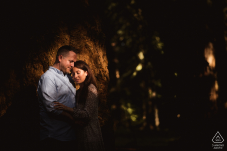 Engagement Photography for Rhinefield, New Forest   A spotlight through the trees