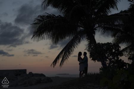 Fotografo di fidanzamento per Fort Zach in Florida - L'immagine contiene: coppia, ritratto, silhouette, tramonto, palma, alberi