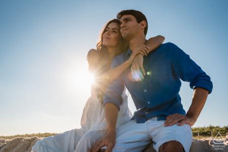 Engagement Portrait from Barra da Tijuca - RJ - Brazil | Couple relaxing while enjoying the view