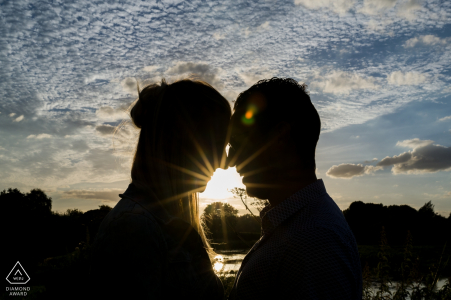 Engagement Photographer for Kasteel Groot Buggenum Grathem, The Netherlands - Silhouette of an engaged couple by sundown