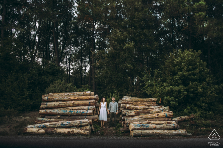 Engagement Photos from İstanbul - A portrait of the couple between woods