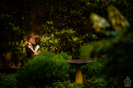 Engagement Photographer for NYC - New York City, Tudor city - Couple's portrait in the garden