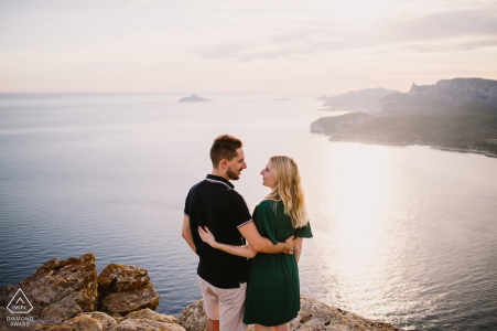 Cassis France Couple in love - Engagement portrait session overlooking the water