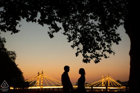 London Engagement Photography Portraits - A cold autumn evening, by the Albert Bridge
