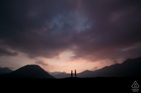 Engagement Portraits in Mount Bromo, Indonesia - couple around the volcano mount