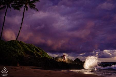 Wailea, Maui, Hawaii Sunset engagement shoot with crashing waves