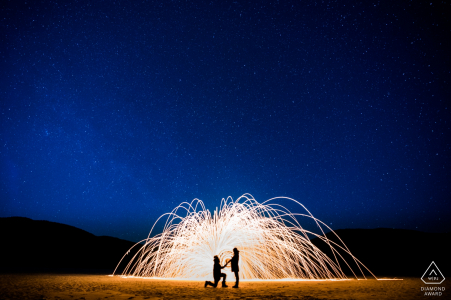 China Engagement Photography at night with Fireworks