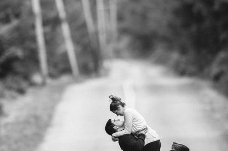 Carbonado, WA Engagement Portrait Session — Girl jumping to boyfriend's arms