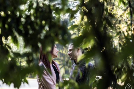 Milano, Italy engagement pictures shot through the low, green trees.