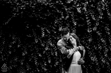 Love in Woudrichem - Black and White Engagement Portrait of a Couple.