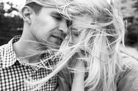 Providence, RI engagement photographer: The wind helped me to capture this image.