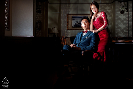 Taiwan, Hualien Engagement Couple Session - Image contains:red, dress, formal, dress, attire, indoors