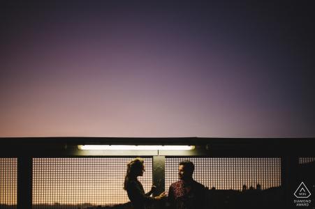 Porto Engagement Photo Session - Portrait contains: purple, sky, sunset, street, light