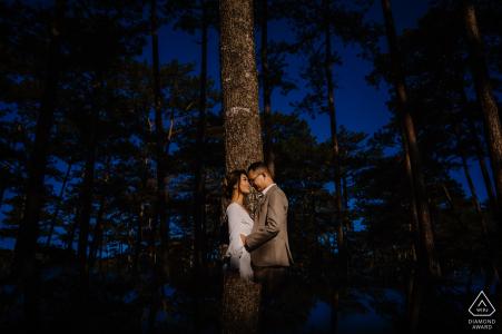 Dalat, VIETNAM Verlovingsfotoshoot met een paar aan de rand van het bos met hoge bomen.