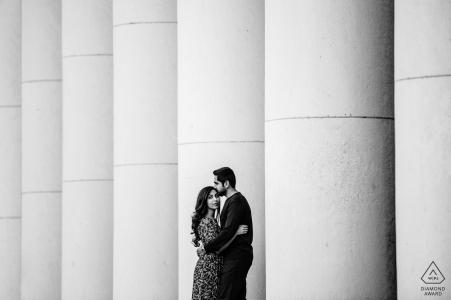 Sofia, Bulgaria engagement photoshoot - Black and white portrait of the couple with concrete pillars