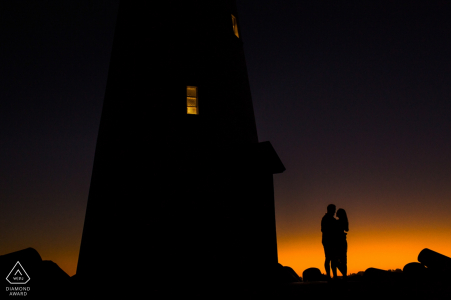 Santa Cruz Beach Engagement Picture with Lighthouse