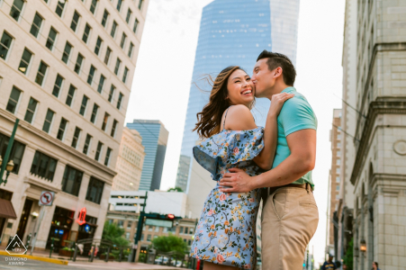 Houston, TX engagement photographer: A couple having their happy times near downtown Houston