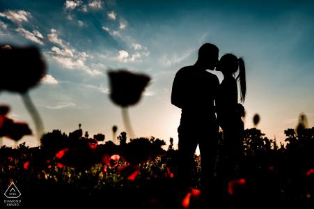 Prewedding portraits in flower fields of Sofia-Bulgaria