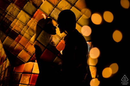 Hong Kong Indoor Engagement Portraits - Love Photo Session with Bokeh