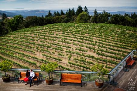 Thomas Fogarty Winery, séance photo de fiançailles à Woodside - Un joli coucher de soleil au vignoble