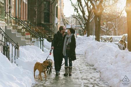 Albany, New York, séance de portrait de fiançailles d'un couple heureux marchant bras dessus bras dessous avec leurs deux chiens sur un trottoir de la ville enneigée.