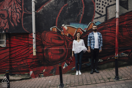 İstanbul, Turkey Pre-Wedding Photography on the streets with engaged couple