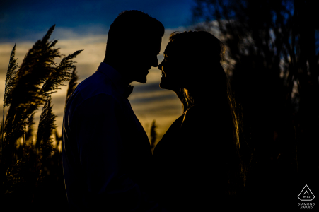 Sunset engagement session at the Wietze Park in Germany