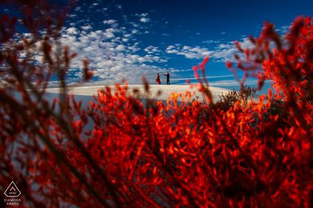 Image de couple du parc national de White Sands en rouge sur les dunes de sable.