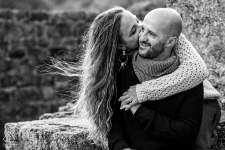 saint jean d'aulps wind and crazy hair during engagement picture session