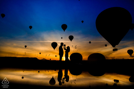 cappadocia pre wedding session at the sunrise with hot air balloons