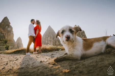 Pre-wedding portraits - dogs and couple in Cappadocia