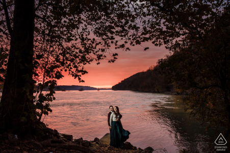 Engagement Photography Session at Susquehanna Park, Havre de Grace, MD - Sunrise on the water in Havre de Grace Maryland. Lit with softbox.