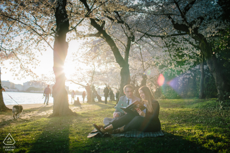 Engagement Photo Session at Washington DC - Cherry Blossom by the Tidal Basin.