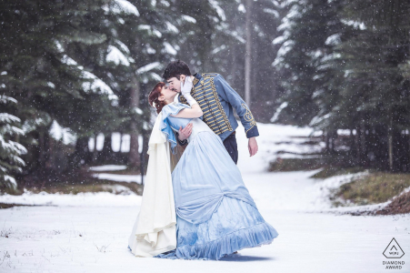 "Italian Alps engagement shoot photographer: ""Engagement shooting on the snow. The couple made their Wedding in Historical Clothes after few month, this is why of the Historical Clothes in this shooting."""