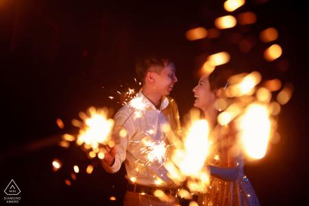 bromo, surabaya, indonesia pre-wedding portraits - playing fireworks
