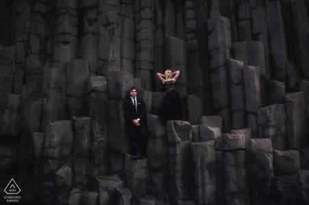 Iceland Black on Black Engagement Portrait in a Formal Fashion